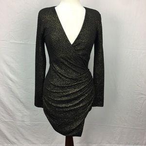 Arden B. Black/Gold Metallic Asymmetric Dress